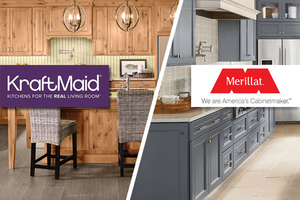 KraftMaid and Merillat cabinetry are both available at Florence Carpet and Tile an Abbey Design Center
