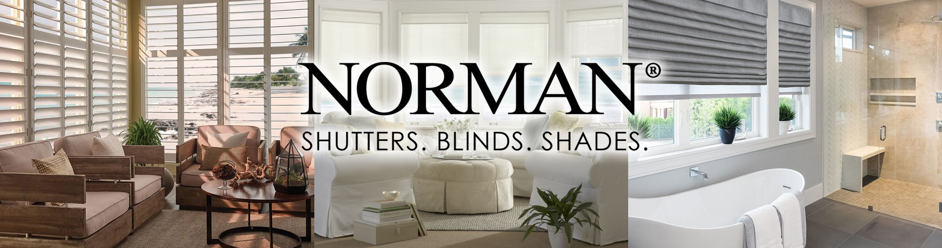 Norman window coverings. Shutters, blinds, and shades all at Florence Carpet and Tile